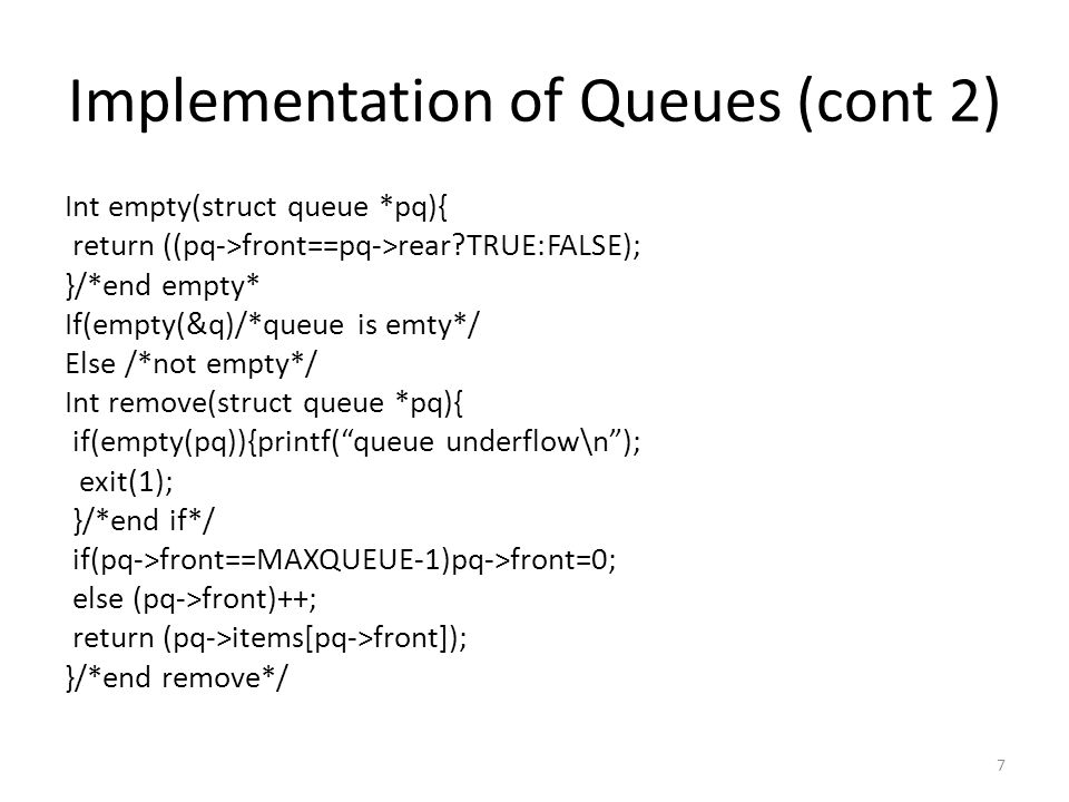 Array Implementation of Lists node[q].info=x; node[q].next=node[p].next; node[p].next=q; return; }/*end insafter*/ Void delafter(int p, int *px){ int q; if((p==-1)||(node[p].next==-1)){ printf( void deletion\n ); return; } q=node[p].next; *px=node[q].info; node[p].next=node[q].next; freenode(q); return; } 18