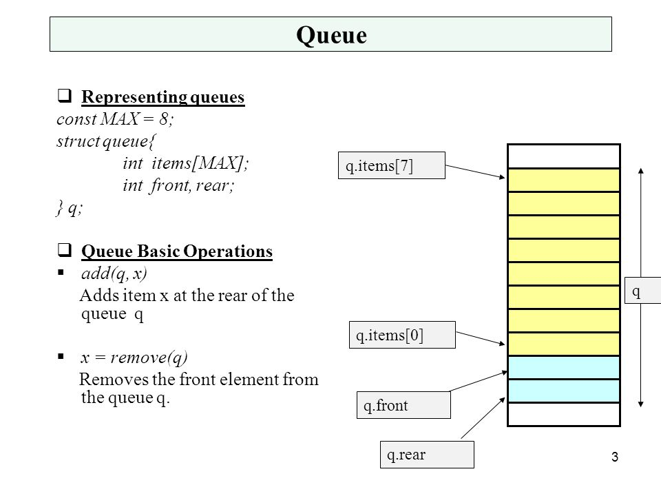 Queue  Representing queues const MAX = 8; struct queue{ int items[MAX]; int front, rear; } q;  Queue Basic Operations  add(q, x) Adds item x at the rear of the queue q  x = remove(q) Removes the front element from the queue q.