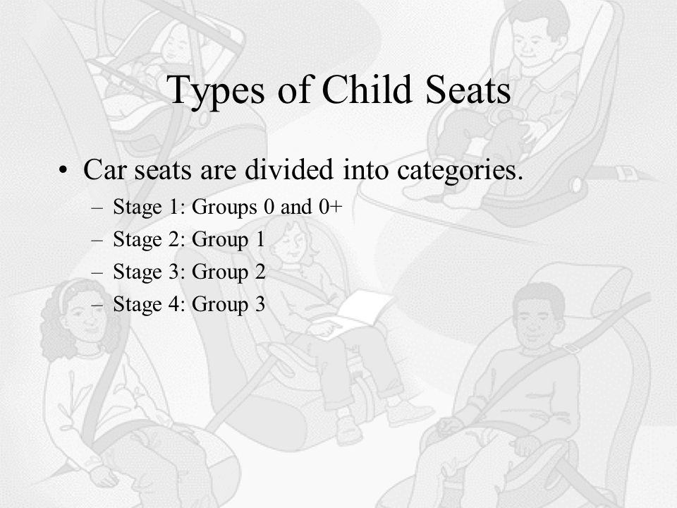 Types of Child Seats Car seats are divided into categories.
