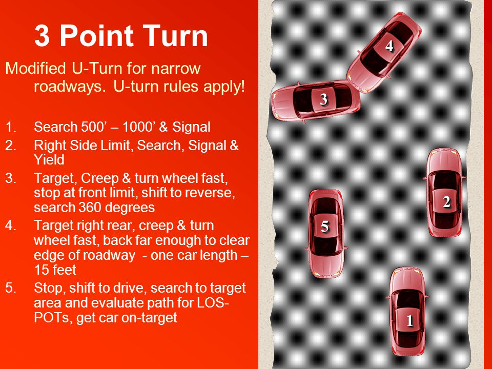 3 Point Turn Modified U-Turn for narrow roadways. U-turn rules apply.