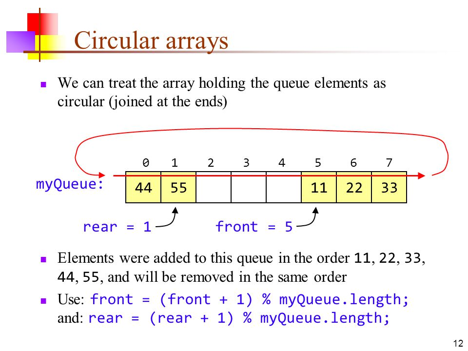 12 Circular arrays We can treat the array holding the queue elements as circular (joined at the ends) myQueue: rear = 1front = 5 Elements were added to this queue in the order 11, 22, 33, 44, 55, and will be removed in the same order Use: front = (front + 1) % myQueue.length; and: rear = (rear + 1) % myQueue.length;