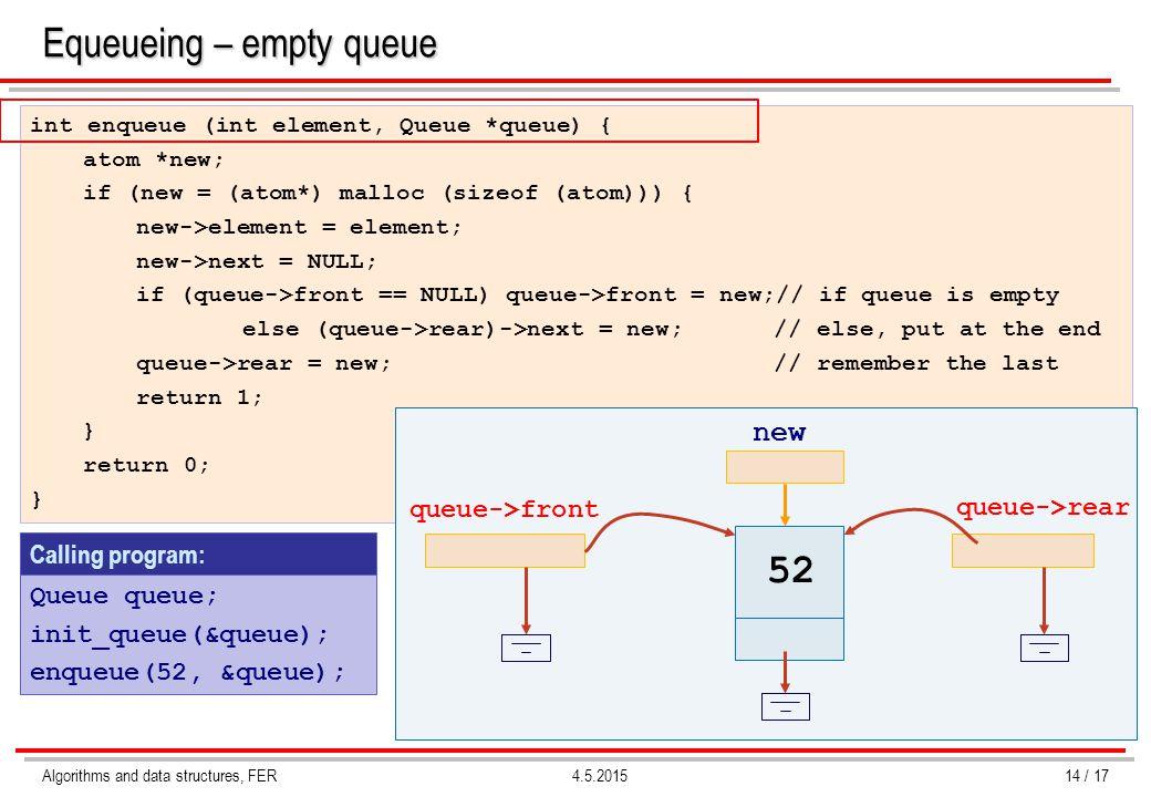 Algorithms and data structures, FER4.5.2015 Calling program: int enqueue (int element, Queue *queue) { atom *new; if (new = (atom*) malloc (sizeof (atom))) { new->element = element; new->next = NULL; if (queue->front == NULL) queue->front = new;// if queue is empty else (queue->rear)->next = new;// else, put at the end queue->rear = new;// remember the last return 1; } return 0; } Equeueing – empty queue Queue queue; init_queue(&queue); enqueue(52, &queue); 52 queue->front queue->rear new 14 / 17
