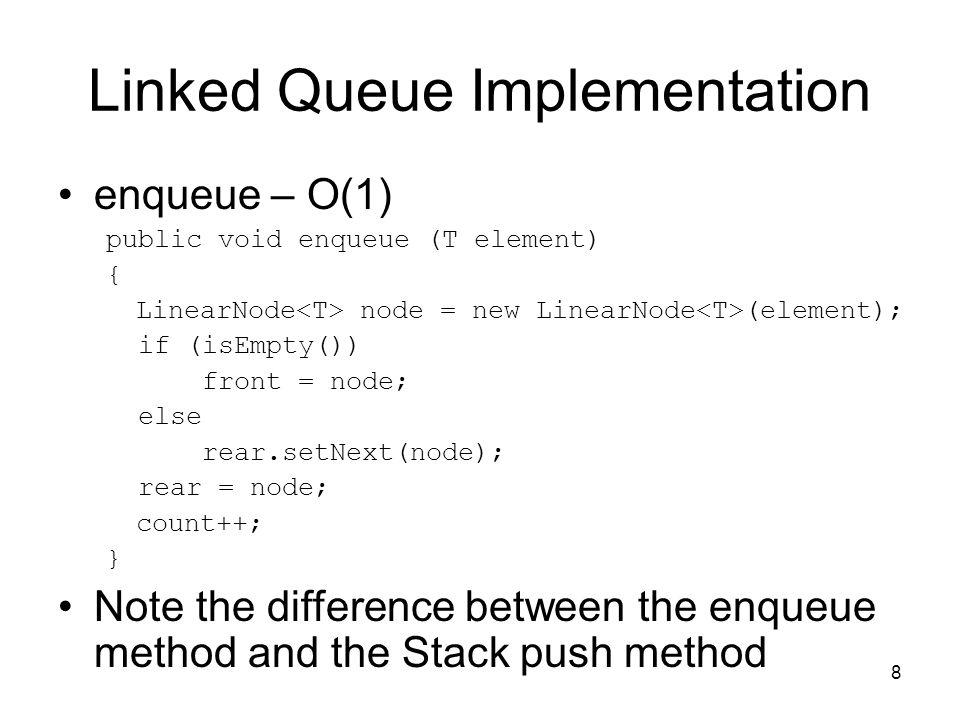 8 Linked Queue Implementation enqueue – O(1) public void enqueue (T element) { LinearNode node = new LinearNode (element); if (isEmpty()) front = node