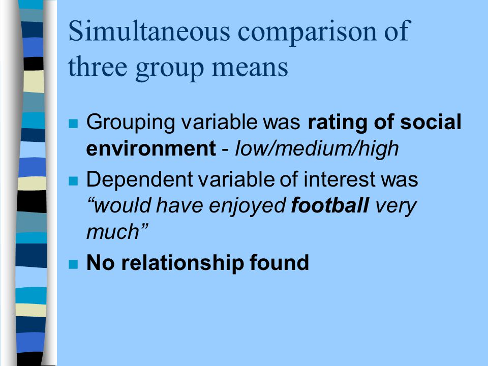 Simultaneous comparison of three group means n Grouping variable was rating of social environment - low/medium/high n Dependent variable of interest w