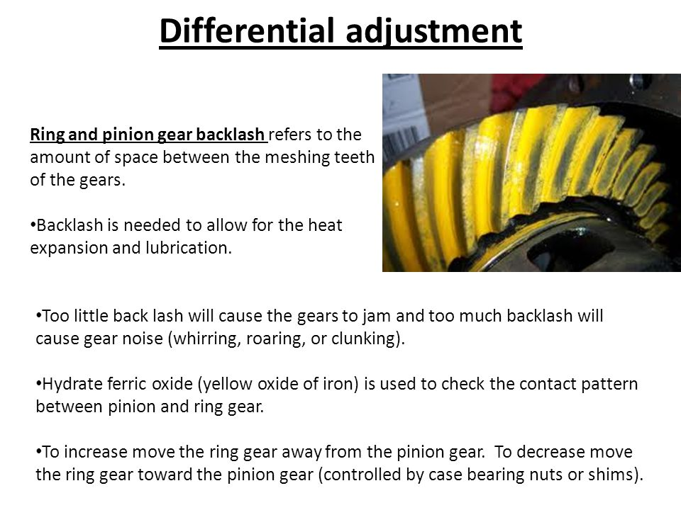 Differential adjustment Ring and pinion gear backlash refers to the amount of space between the meshing teeth of the gears.