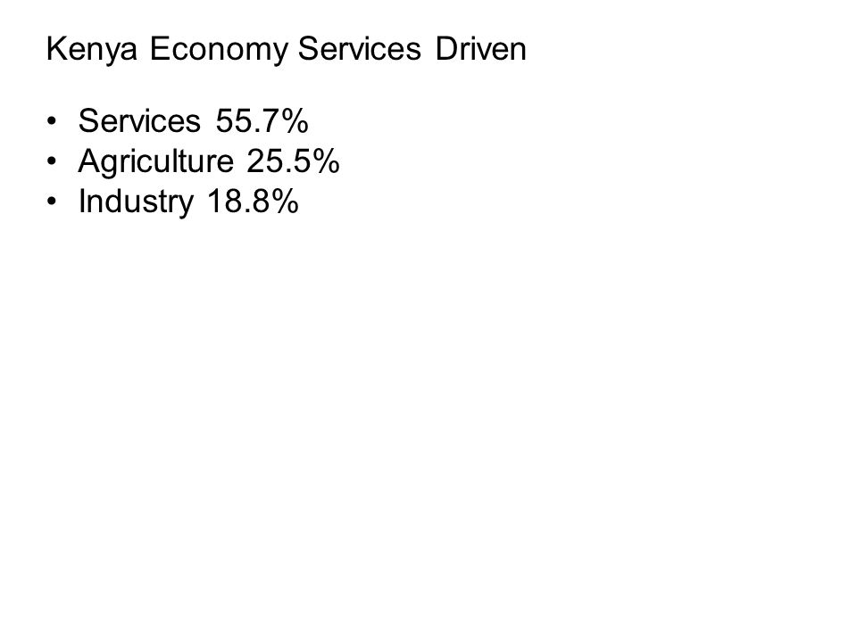 Kenya Economy Services Driven Services 55.7% Agriculture 25.5% Industry 18.8%