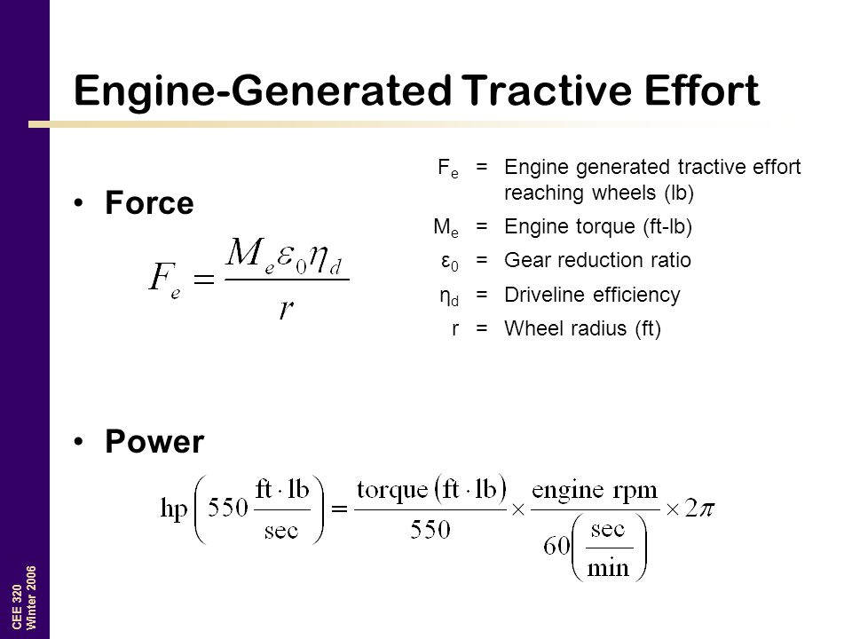 CEE 320 Winter 2006 Engine-Generated Tractive Effort Force Power FeFe =Engine generated tractive effort reaching wheels (lb) MeMe =Engine torque (ft-lb) ε0ε0 =Gear reduction ratio ηdηd =Driveline efficiency r=Wheel radius (ft)