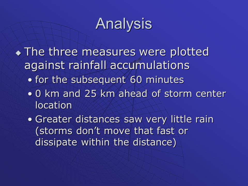 Analysis  The three measures were plotted against rainfall accumulations for the subsequent 60 minutesfor the subsequent 60 minutes 0 km and 25 km ahead of storm center location0 km and 25 km ahead of storm center location Greater distances saw very little rain (storms don't move that fast or dissipate within the distance)Greater distances saw very little rain (storms don't move that fast or dissipate within the distance)