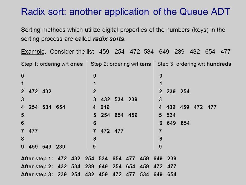 Radix sort: another application of the Queue ADT Sorting methods which utilize digital properties of the numbers (keys) in the sorting process are called radix sorts.