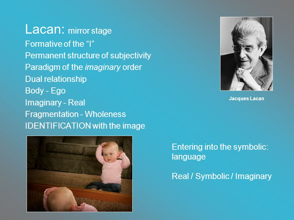 Lacan: mirror stage Formative of the I Permanent structure of subjectivity Paradigm of the imaginary order Dual relationship Body - Ego Imaginary - Real Fragmentation - Wholeness IDENTIFICATION with the image Jacques Lacan Entering into the symbolic: language Real / Symbolic / Imaginary