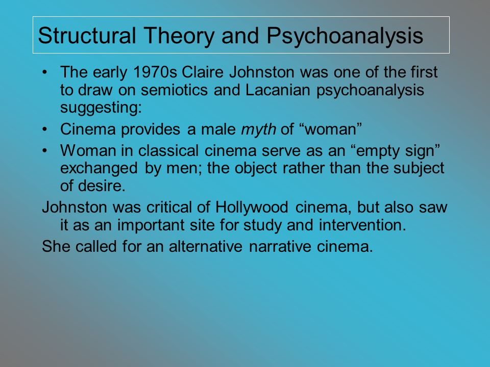 Female spectatorship and masquerade Gender as performed Gender is problematic / wonderful / complex Oppositional Viewing Psychoanalytic theory becomes less monolithic as discussions move beyond the binary of masculine/feminine gender and address other aspects of identity (race, age, ability, etc) After the 1980s: an increase in films by women directors and with complex representations of gender and sexuality An Angel at My Table, Jane Campion, 1989 Things You Can Tell by Just Looking at Her, Rodrigo Garcia, 2000 Recent Feminist Film Theory