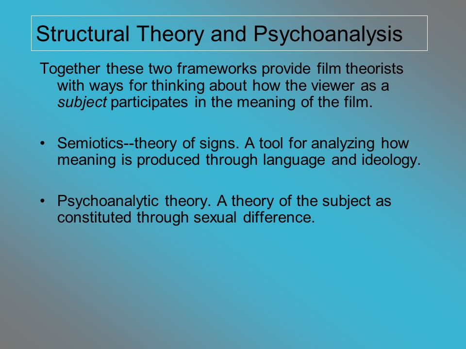 Laura Mulvey Film Theorist, Media Scholar, Filmmaker Great Britain (1941 - ) Feminist Film Studies Visual Pleasure and Narrative Cinema - 1975 Psychoanalysis, Semiotics Sustained dialog on how sexual difference is reproduced in the act of watching classical cinema - 30s, 40s, 50s… Fascination of cinema She argues women have been placed in a specific, powerless position in cinema.