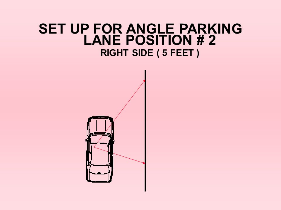 SET UP FOR ANGLE PARKING LANE POSITION # 2 RIGHT SIDE ( 5 FEET )