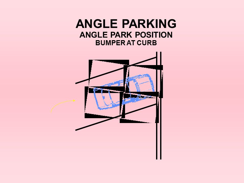 ANGLE PARKING ANGLE PARK POSITION BUMPER AT CURB