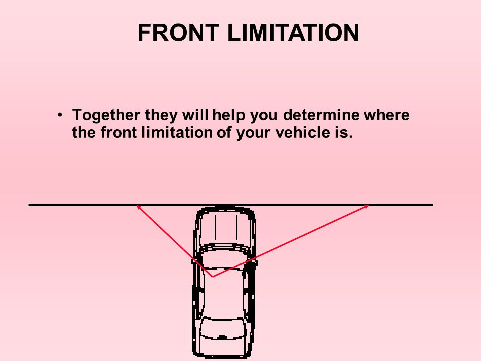 LANE POSITION # 1 The first one is, from your line of sight through the driver ' s side left fender to the center line.