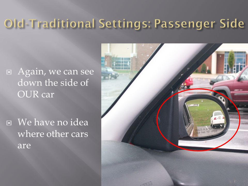  Again, we can see down the side of OUR car  We have no idea where other cars are