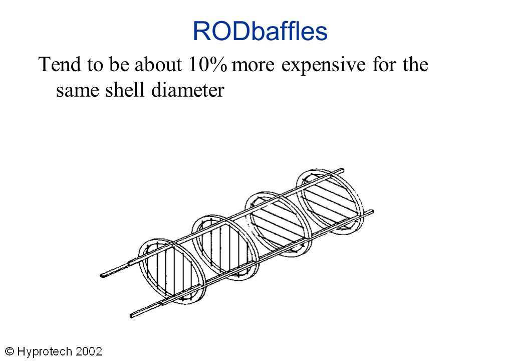RODbaffles Tend to be about 10% more expensive for the same shell diameter