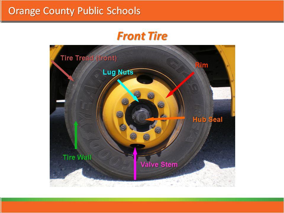 Front Tire Tire Tread (front) Tire Wall Rim Valve Stem Lug Nuts Hub Seal
