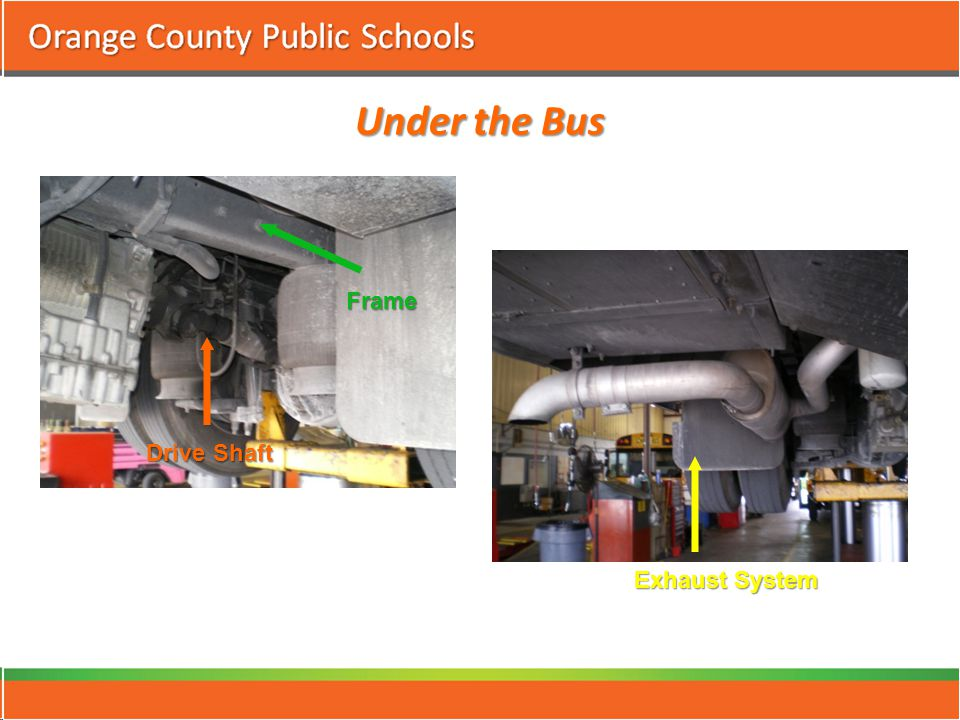 Under the Bus Drive Shaft Frame Exhaust System