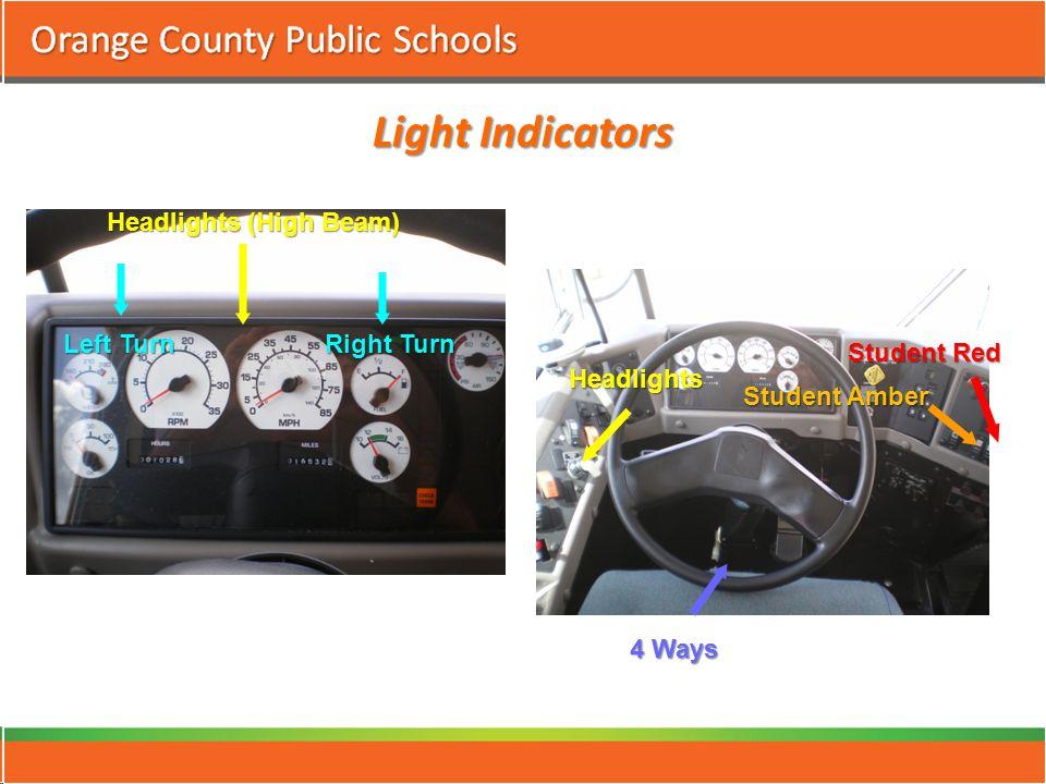 Light Indicators Headlights (High Beam) Left Turn Right Turn Headlights 4 Ways Student Amber Student Red