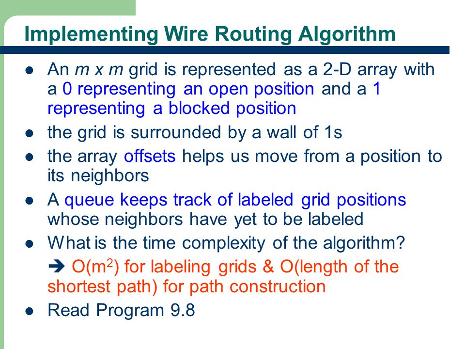 41 Wire Routing Algorithm Exercise Consider the wire-routing grid of Figure 9.13(a).