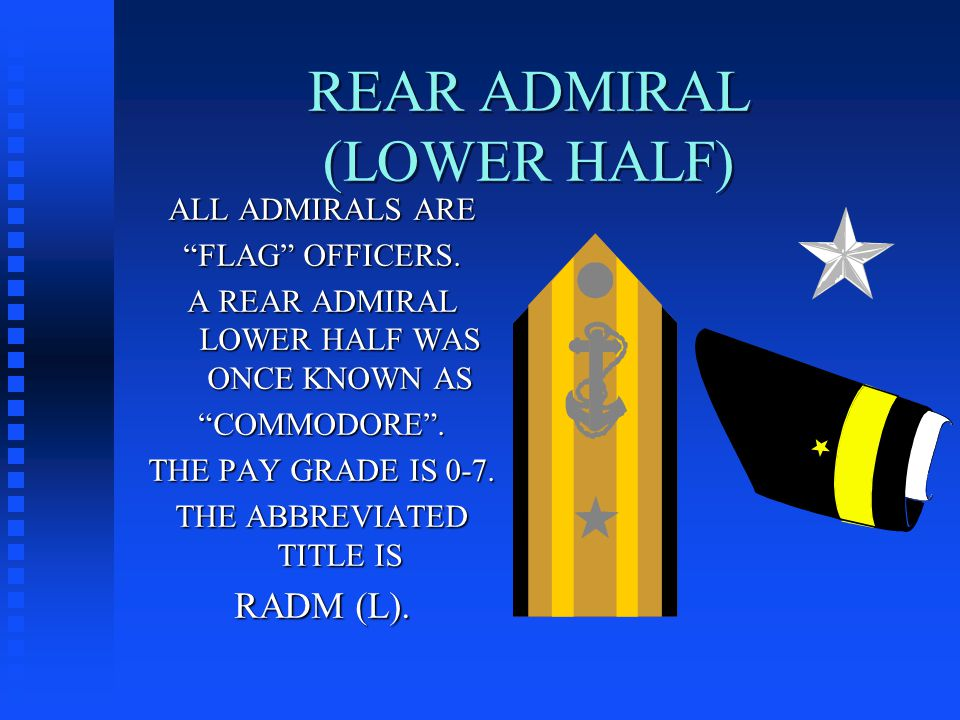 REAR ADMIRAL (LOWER HALF) ALL ADMIRALS ARE FLAG OFFICERS.