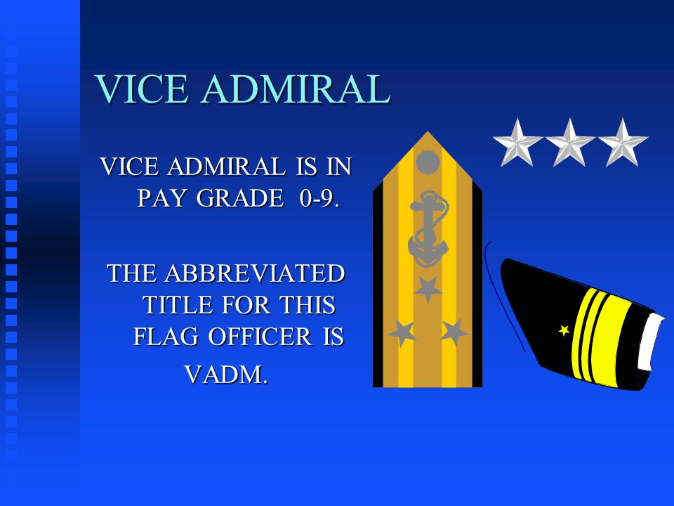 VICE ADMIRAL VICE ADMIRAL IS IN PAY GRADE 0-9. THE ABBREVIATED TITLE FOR THIS FLAG OFFICER IS VADM.