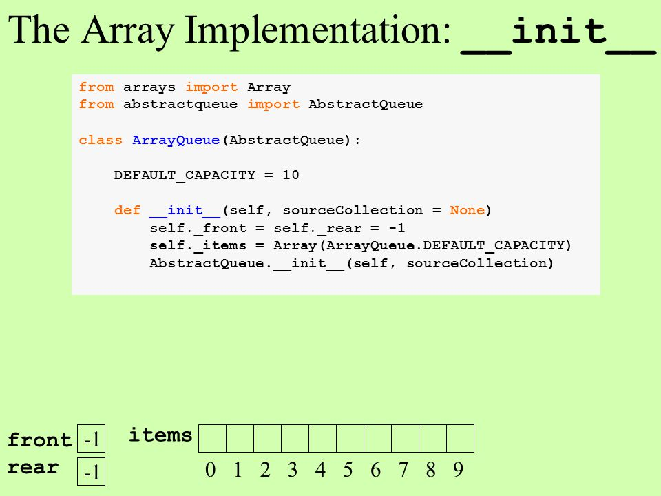 from arrays import Array from abstractqueue import AbstractQueue class ArrayQueue(AbstractQueue): DEFAULT_CAPACITY = 10 def __init__(self, sourceColle
