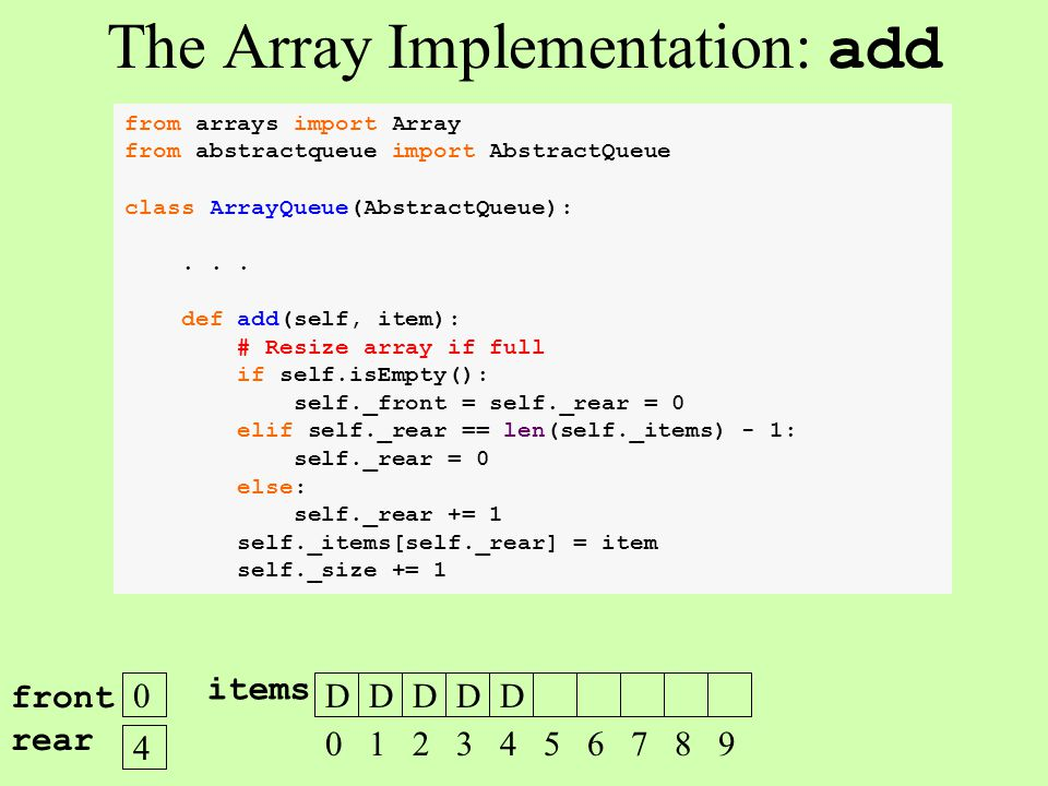 from arrays import Array from abstractqueue import AbstractQueue class ArrayQueue(AbstractQueue):... def add(self, item): # Resize array if full if se