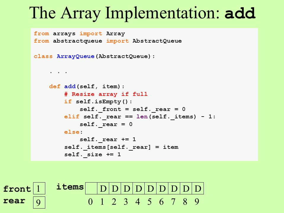 The Array Implementation: add 1 front rear 9 DDDDDDDDD 0 1 2 3 4 5 6 7 8 9 items from arrays import Array from abstractqueue import AbstractQueue clas