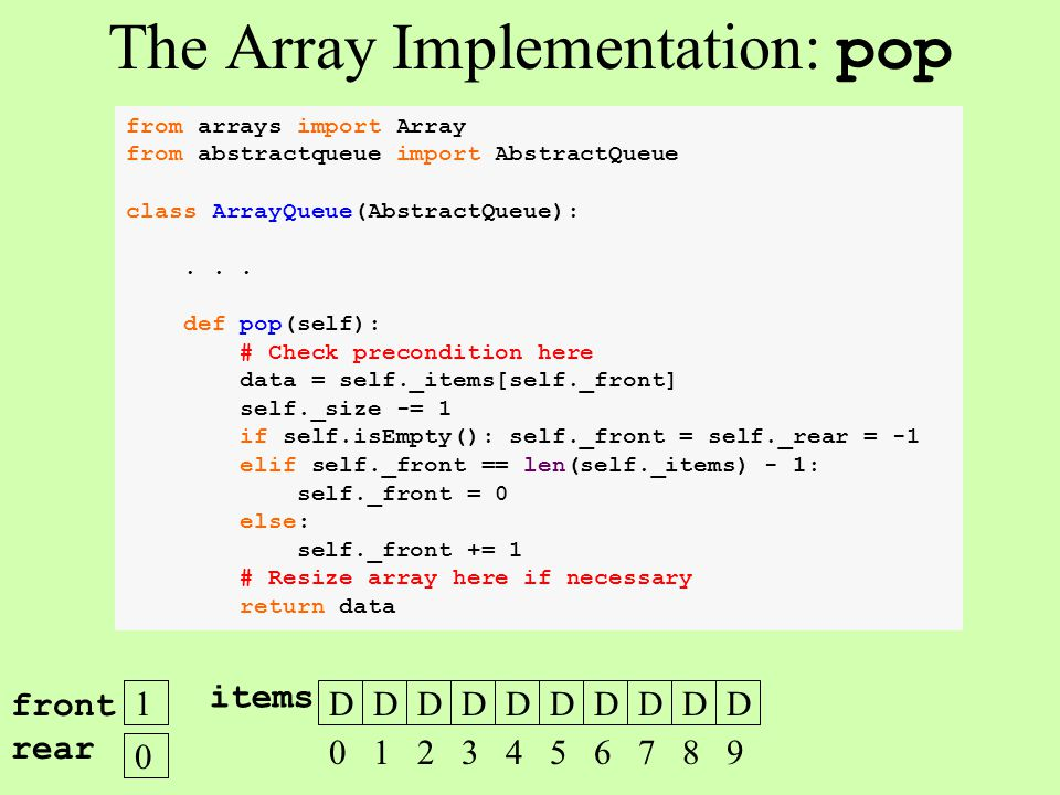 from arrays import Array from abstractqueue import AbstractQueue class ArrayQueue(AbstractQueue):... def pop(self): # Check precondition here data = s