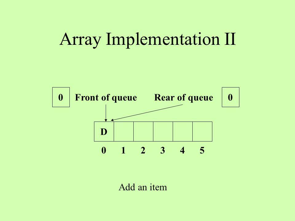 Array Implementation II D 0 1 2 3 4 5 Front of queue Rear of queue 00 Add an item