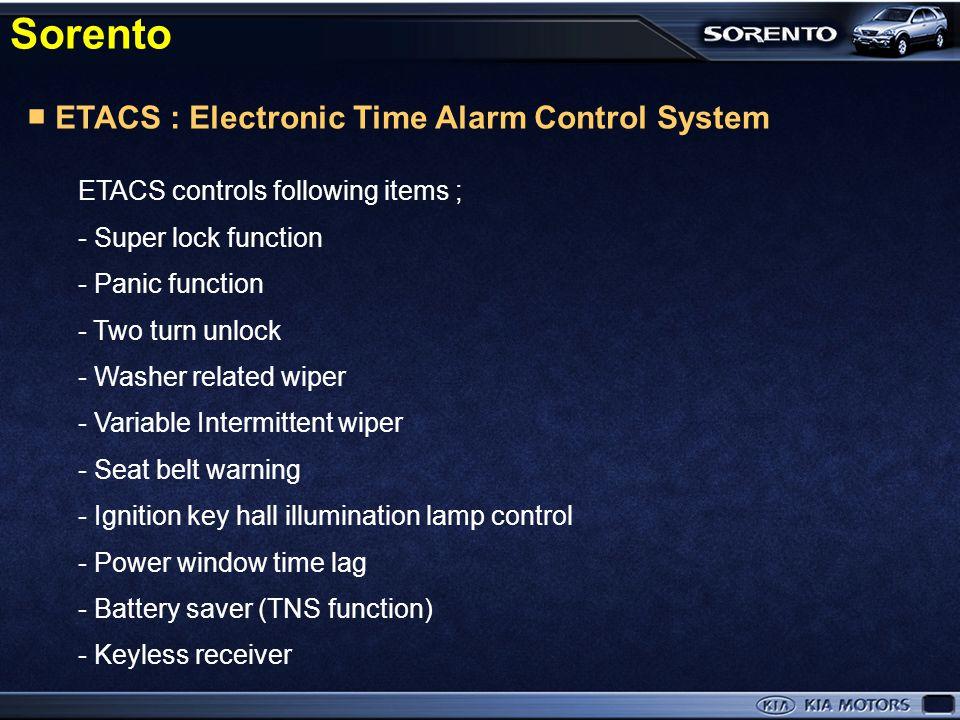 ■ ETACS ■ REAR WIPER SYSTEM ■ AUTO LIGHT CONTROL SYSTEM ■ RAIN SENSOR ■ MULTIMETER BODY ELECTRICAL Sorento