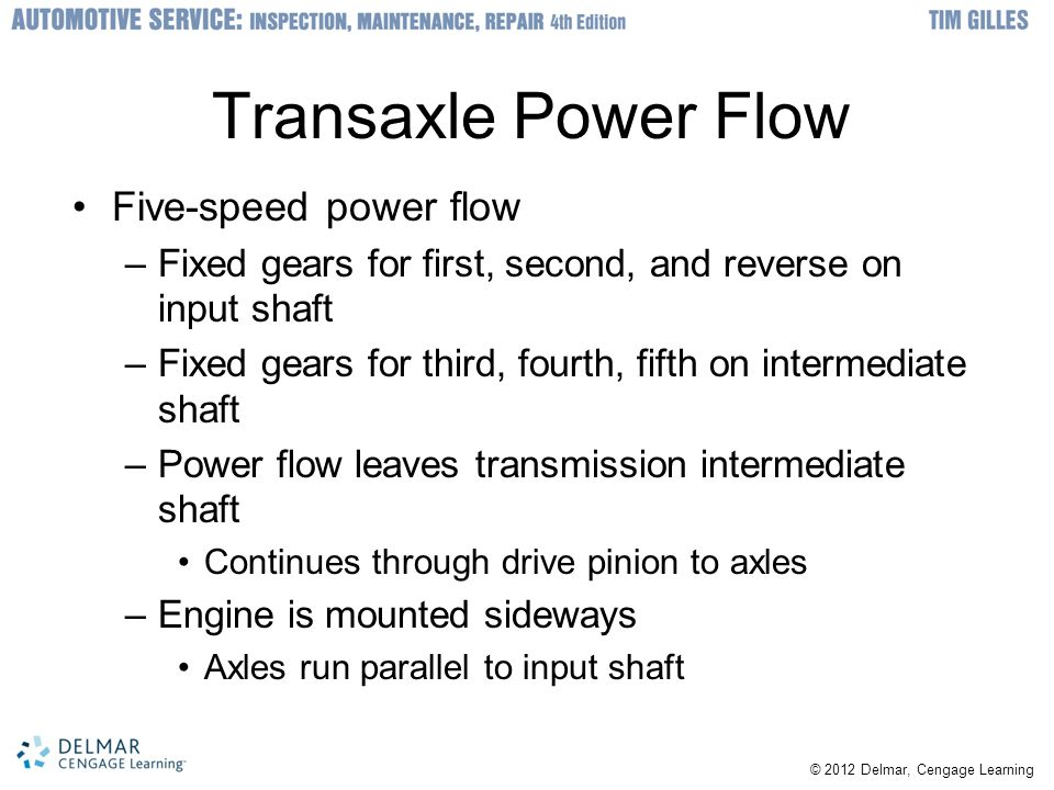 © 2012 Delmar, Cengage Learning Transaxle Power Flow Five-speed power flow –Fixed gears for first, second, and reverse on input shaft –Fixed gears for