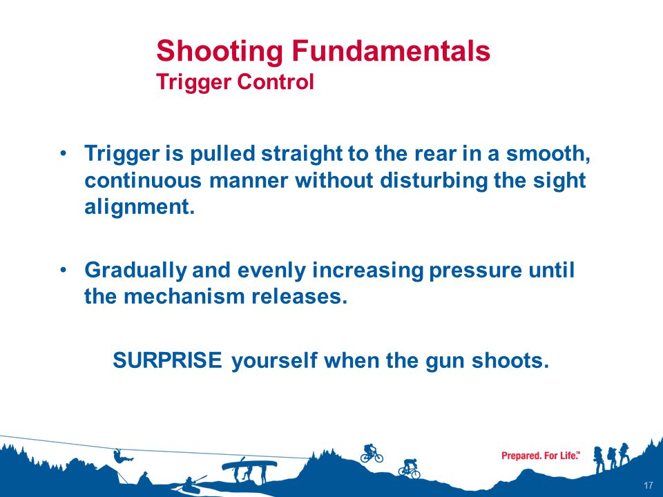 Shooting Fundamentals Trigger Control Trigger is pulled straight to the rear in a smooth, continuous manner without disturbing the sight alignment. Gr