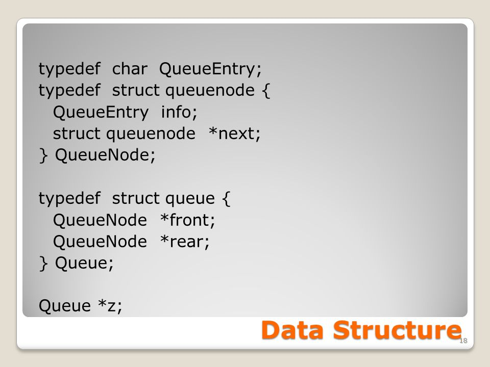 Data Structure typedef char QueueEntry; typedef struct queuenode { QueueEntry info; struct queuenode *next; } QueueNode; typedef struct queue { QueueNode *front; QueueNode *rear; } Queue; Queue *z; 18
