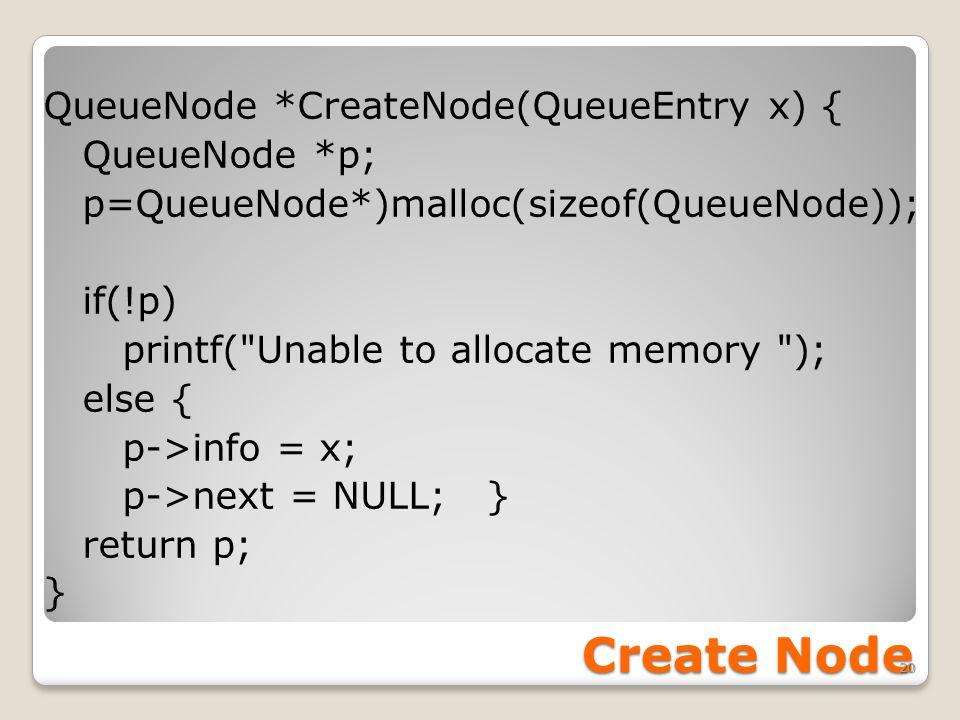 Create Node QueueNode *CreateNode(QueueEntry x) { QueueNode *p; p=QueueNode*)malloc(sizeof(QueueNode)); if(!p) printf(