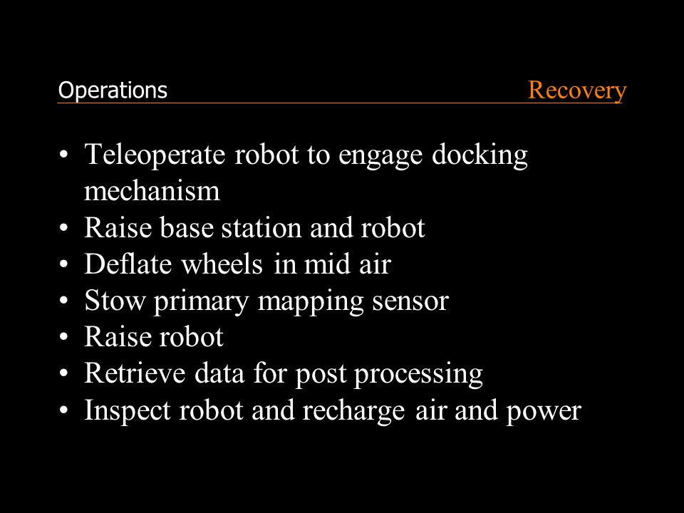 Recovery Teleoperate robot to engage docking mechanism Raise base station and robot Deflate wheels in mid air Stow primary mapping sensor Raise robot Retrieve data for post processing Inspect robot and recharge air and power Operations