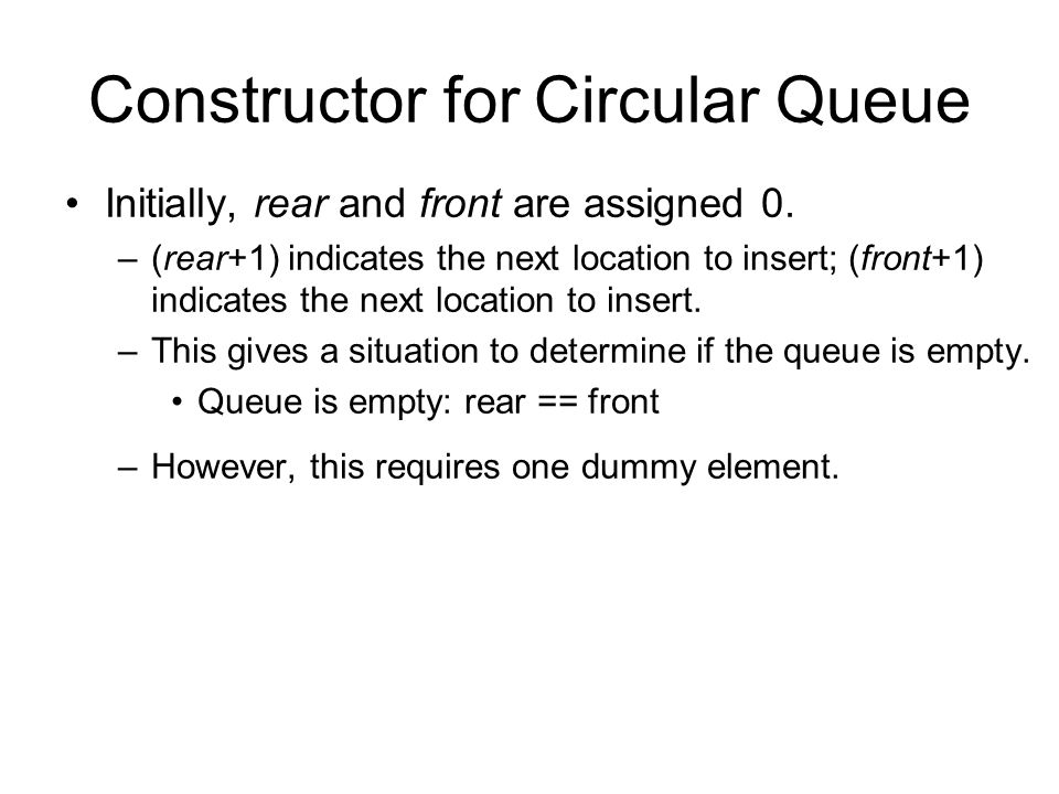 Constructor for Circular Queue Initially, rear and front are assigned 0.