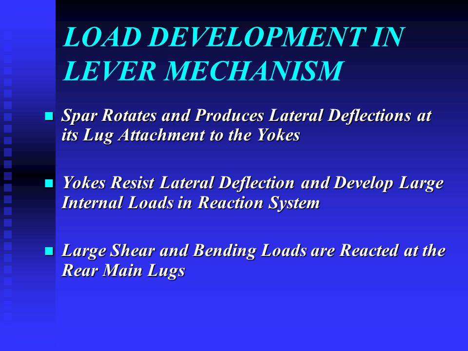 LOAD DEVELOPMENT IN LEVER MECHANISM Spar Rotates and Produces Lateral Deflections at its Lug Attachment to the Yokes Spar Rotates and Produces Lateral Deflections at its Lug Attachment to the Yokes Yokes Resist Lateral Deflection and Develop Large Internal Loads in Reaction System Yokes Resist Lateral Deflection and Develop Large Internal Loads in Reaction System Large Shear and Bending Loads are Reacted at the Rear Main Lugs Large Shear and Bending Loads are Reacted at the Rear Main Lugs