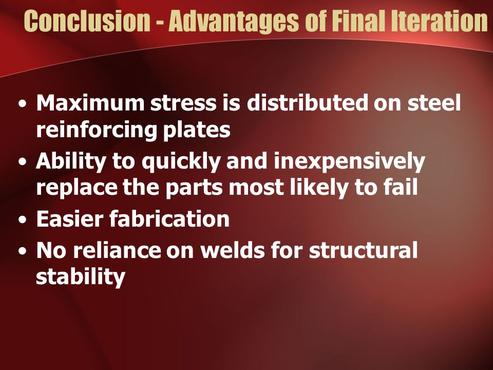 Conclusion - Advantages of Final Iteration Maximum stress is distributed on steel reinforcing plates Ability to quickly and inexpensively replace the