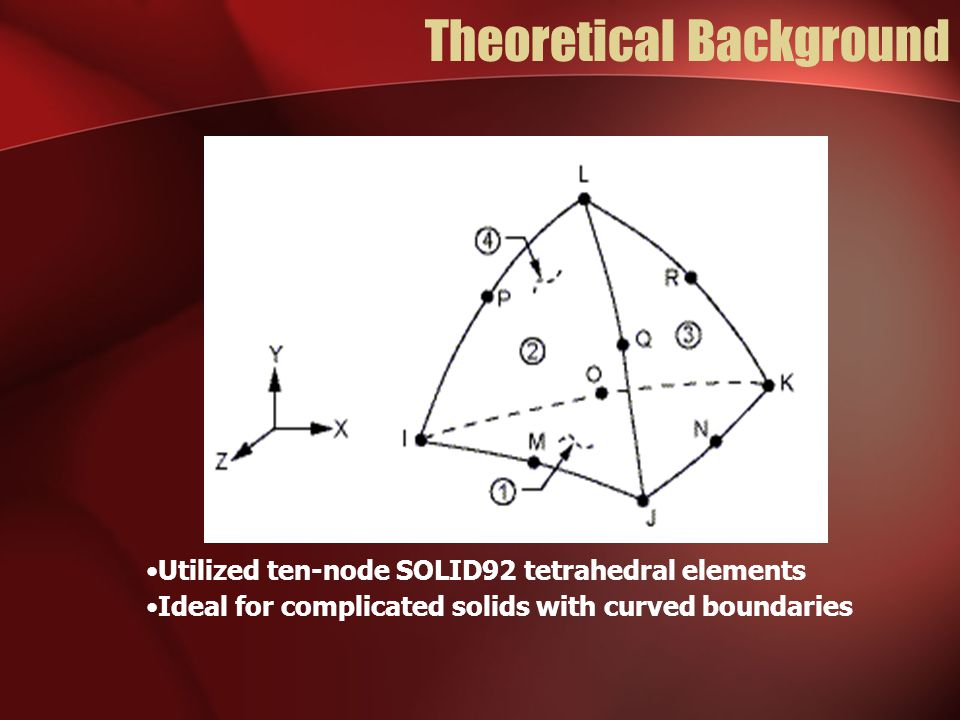 Theoretical Background Utilized ten-node SOLID92 tetrahedral elements Ideal for complicated solids with curved boundaries
