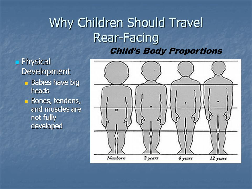 Why Children Should Travel Rear-Facing Physical Development Physical Development Babies have big heads Babies have big heads Bones, tendons, and muscl