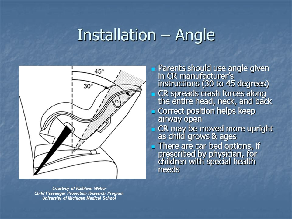 Installation – Angle Parents should use angle given in CR manufacturer's instructions (30 to 45 degrees) Parents should use angle given in CR manufacturer's instructions (30 to 45 degrees) CR spreads crash forces along the entire head, neck, and back CR spreads crash forces along the entire head, neck, and back Correct position helps keep airway open Correct position helps keep airway open CR may be moved more upright as child grows & ages CR may be moved more upright as child grows & ages There are car bed options, if prescribed by physician, for children with special health needs There are car bed options, if prescribed by physician, for children with special health needs Courtesy of Kathleen Weber Child Passenger Protection Research Program University of Michigan Medical School