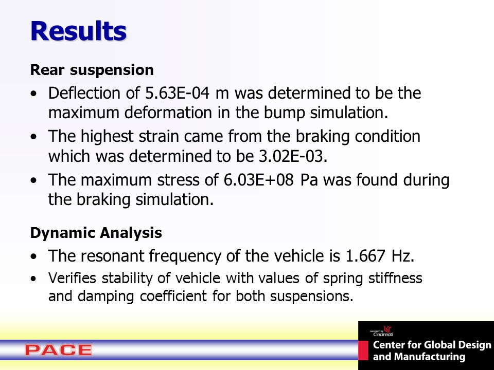 Rear suspension Deflection of 5.63E-04 m was determined to be the maximum deformation in the bump simulation.