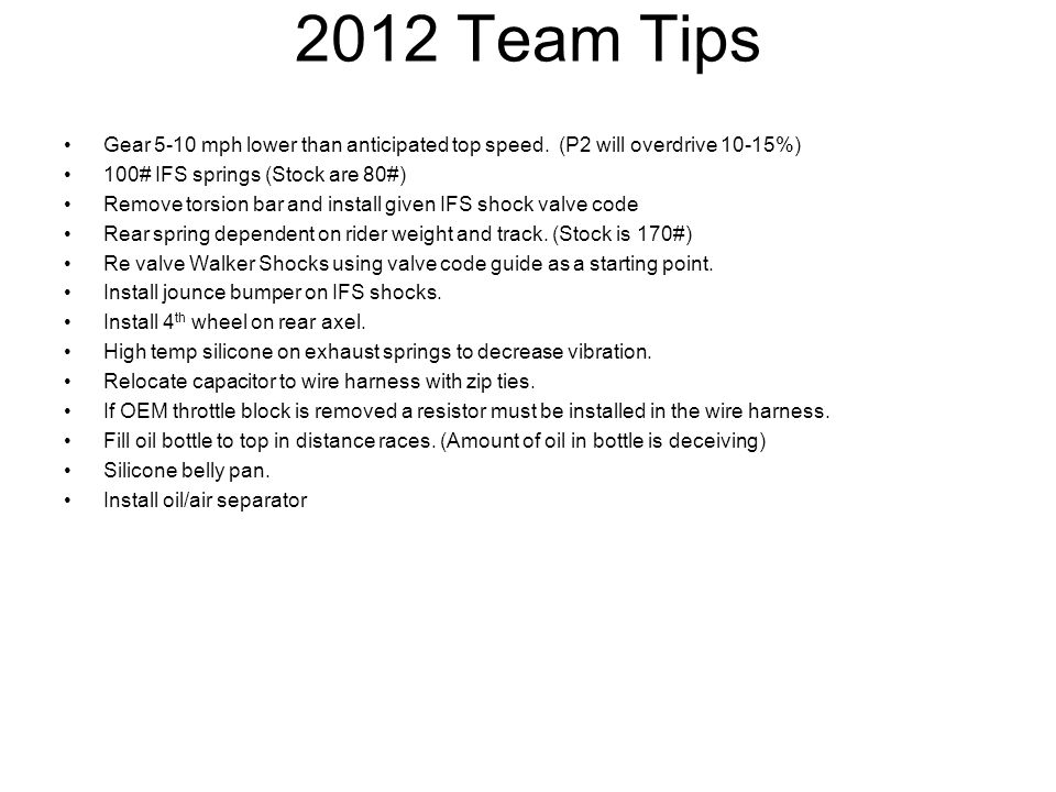 2012 Team Tips Gear 5-10 mph lower than anticipated top speed.