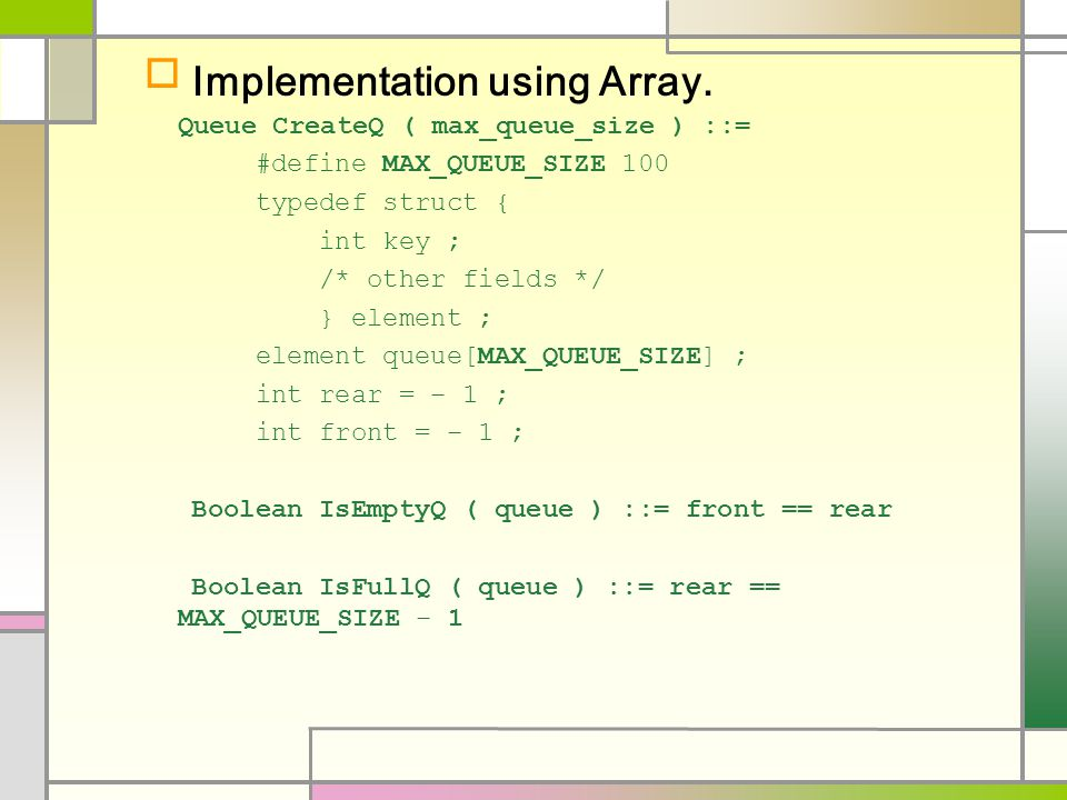  Implementation using Array.