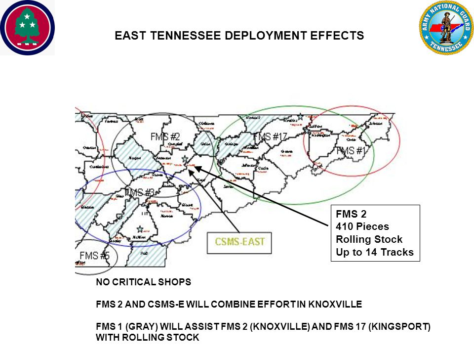 UNCLASSIFIED EAST TENNESSEE DEPLOYMENT EFFECTS NO CRITICAL SHOPS FMS 2 AND CSMS-E WILL COMBINE EFFORT IN KNOXVILLE FMS 1 (GRAY) WILL ASSIST FMS 2 (KNOXVILLE) AND FMS 17 (KINGSPORT) WITH ROLLING STOCK FMS 2 410 Pieces Rolling Stock Up to 14 Tracks