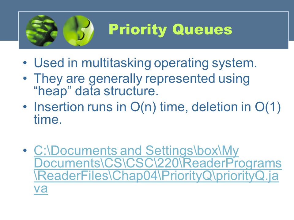 Priority Queues Used in multitasking operating system.