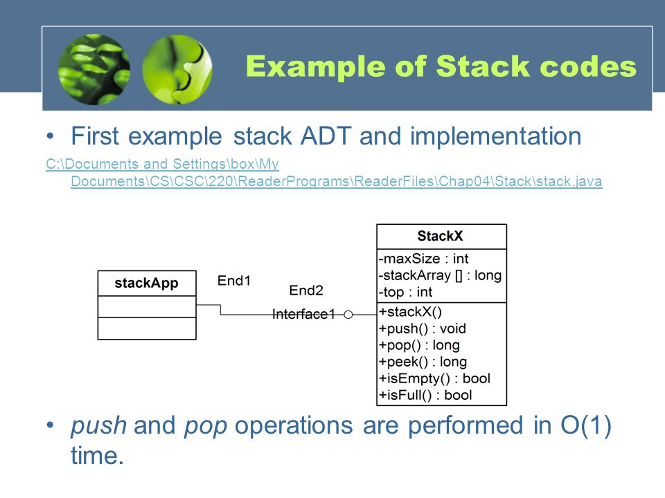 Example of Stack codes First example stack ADT and implementation C:\Documents and Settings\box\My Documents\CS\CSC\220\ReaderPrograms\ReaderFiles\Chap04\Stack\stack.java push and pop operations are performed in O(1) time.